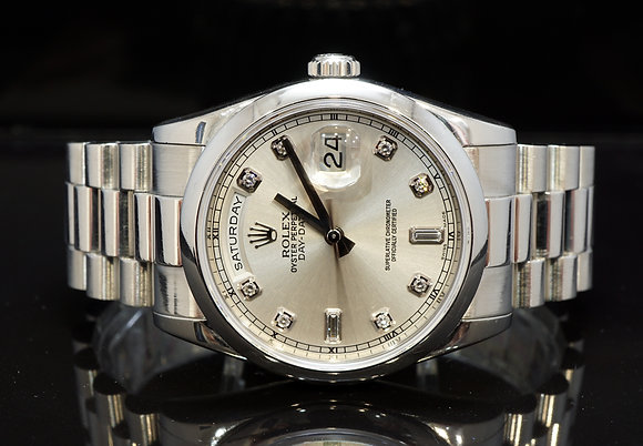 ROLEX 2004 Day-Date 36, Platinum, Diamond Dot Dial, Box & Papers