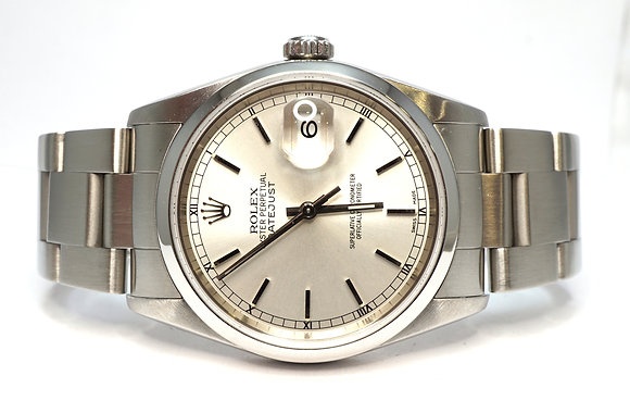 ROLEX 2003 Datejust 36, 16200, Silver Baton, Serviced, Box & Papers