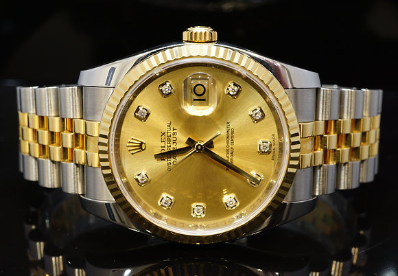 ROLEX 2012 36mm Datejust, Steel & Gold, Diamond Dial, 116233, Box & Papers