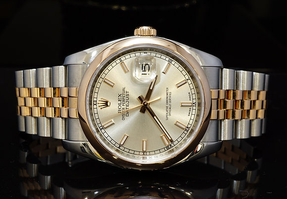 ROLEX 2007 36mm Datejust, Steel & Rose Gold, 116201, MINT, Box & Papers