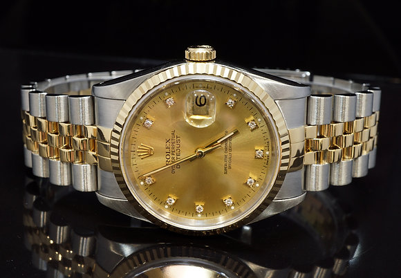 ROLEX 1993 36mm Datejust, STeel & Gold, Diamond Dot Dial, 16233, Box & Papers