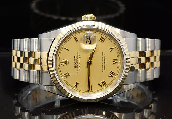ROLEX 1996 datejust 36, Steel & Gold, 16233, Champagne Roman, Box & Papers