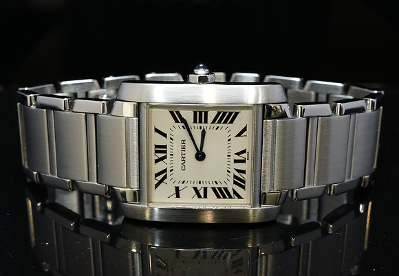 CARTIER 1999 Mid Size TankFrancaise, Steel, W51011Q3, MINT, Box & Papers