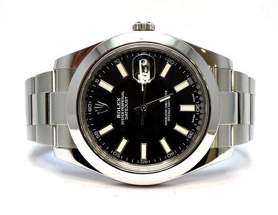 ROLEX 2020 Datejust 41, 126300, Black baton, Oyster Bracelet, Box & Papers