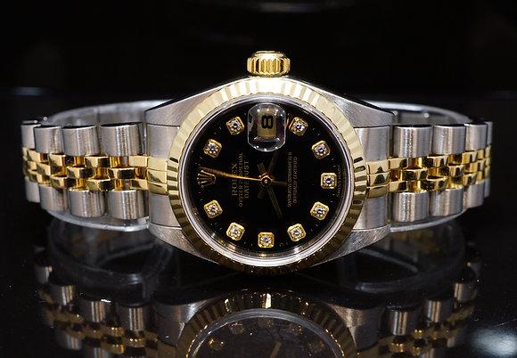 ROLEX 2001 26mm Datejust, Steel & Gold, Diamond Dot, 79173, MINT, Box & Papers