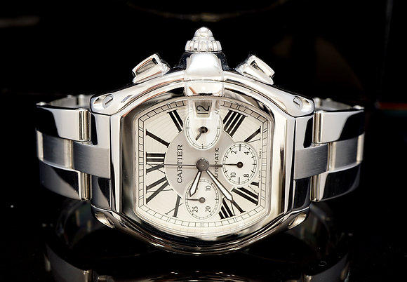 CARTIER Roadster Chronograph, W62006X6, Steel, 2618, Silver Dial