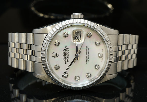 ROLEX 16200 Stainless Steel Datejust with MOP Dial