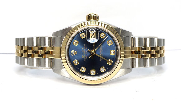 ROLEX 2001 Datejust 26, 79173, Steel & Gold, Blue Diamond Dot Dial, Box & Papers