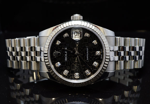 ROLEX 2016 31mm Datejust, Diamond Dial, Steel, 178274, MINT, Box & Papers