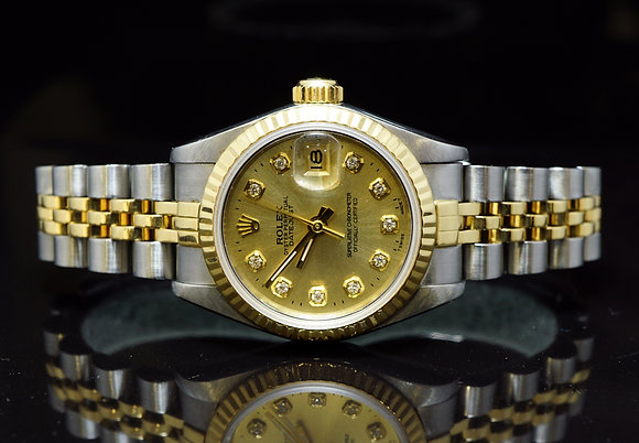 ROLEX 26mm Datejust, Steel & Gold, Diamond Dot Dial, Boxed
