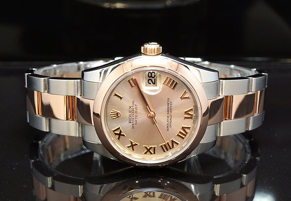 ROLEX 2016 Datejust 31, 178241, Steel & Rose Gold, pink Roman, Box & Papers