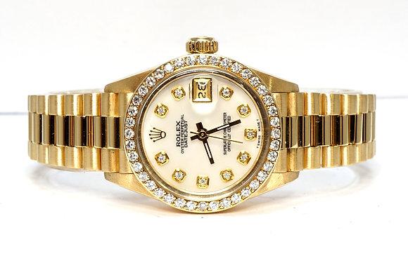 ROLEX 1983 Datejust 26, 6917, Factory MOP Diamond Dial & Bezel, 18ct Gold, Boxed