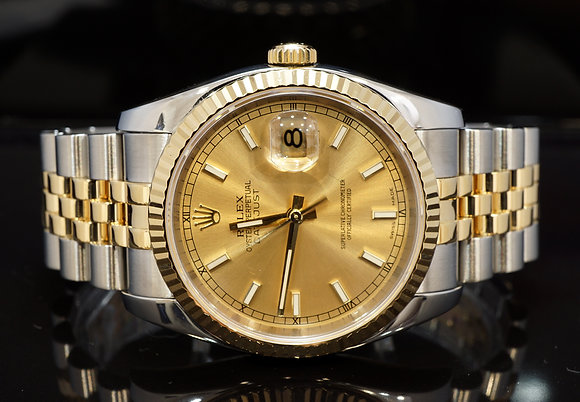 ROLEX 2006 36mm Datejust, Steel & Gold, 116233, Box & Papers