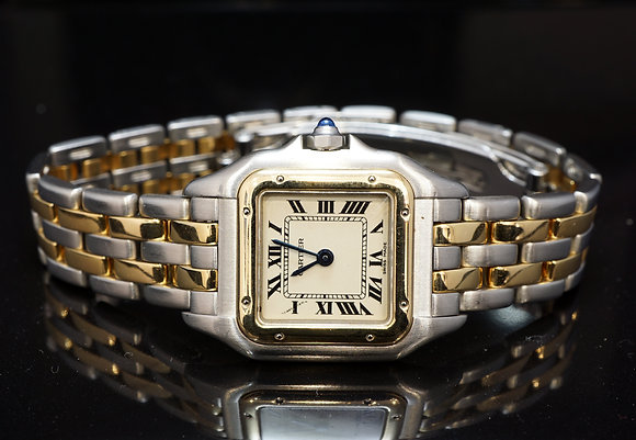 CARTIER 2 Row Panther, Steel & Gold, 166921, Excellent Condition