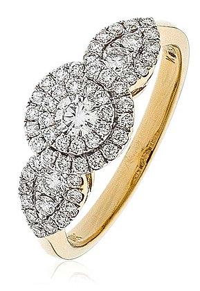 18ct Gold Diamond triple Cluster ring