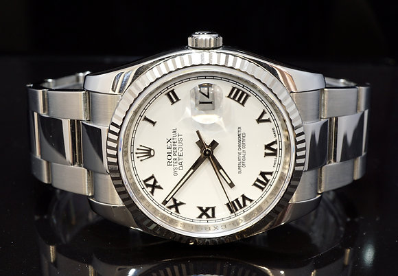 ROLEX 2012 36mm Datejust, Steel, 116234, White Roman, Box & Papers