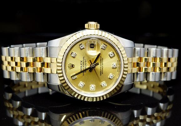 ROLEX 2007 26mm Datejust, Steel & Gold, 179173, Diamond Dot Dial, MINT