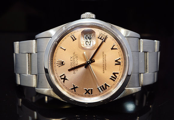 ROLEX 2006 36mm Datejust, Pink Roman, 16200, Steel, Box & Papers