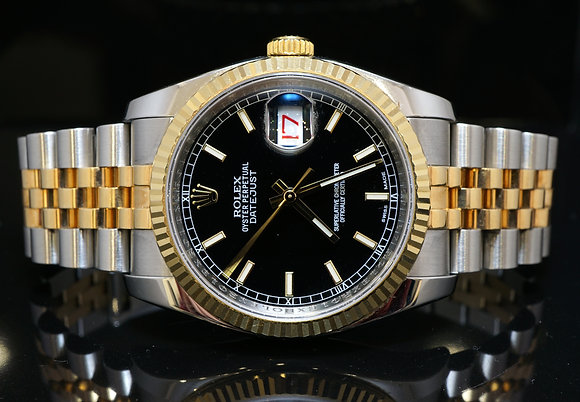 ROLEX 2015 36mm Datejust, Steel & Gold, 116233, MINT, Box & Papers
