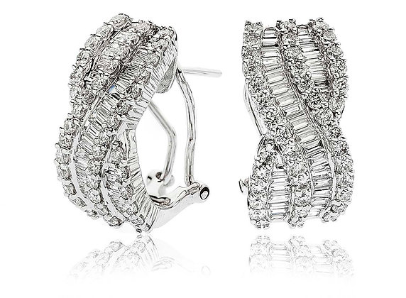 18ct White Gold Baguette & Brilliant cut Earrings