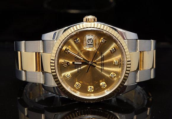 ROLEX 2008 Datejust 36, Steel & Gold, Diamond Dot, 116233, Box & Papers