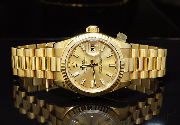 ROLEX 2007 26mm Datejust, 18ct yellow Gold, 179178, MINT, Box & Papers