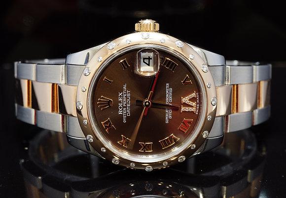 ROLEX 2010 31mm Datejust, Steel & Rose Gold, Diamond Bezel & Dial, 178341, B&P