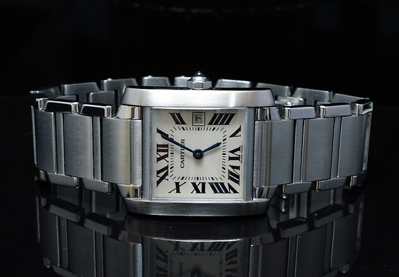CARTIER 2002 Tank Francaise, Steel, MINT, W51011Q3, Box & Papers