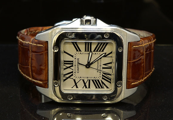 CARTIER 2011 Santos 100, Stainless Steel, W20106X8, MINT, Box & Papers