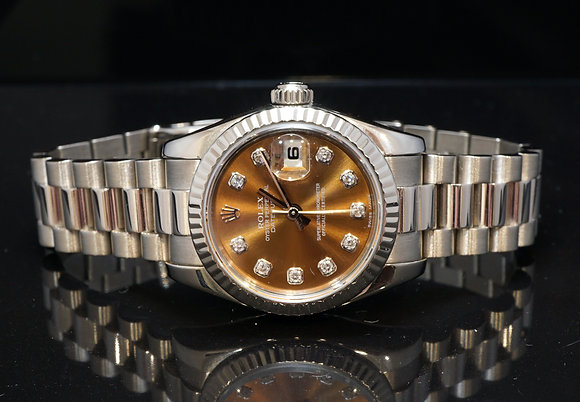 ROLEX 2003 Datejust 26, 18ct White Gold, Diamond Dot, 179179, Box & Papers