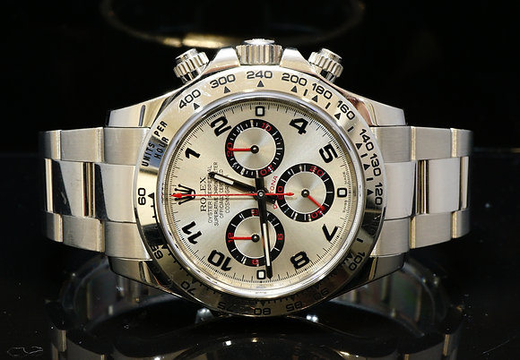 ROLEX 2014 Daytona 18ct White Gold, Racing Dial, 116509, Box & Papers