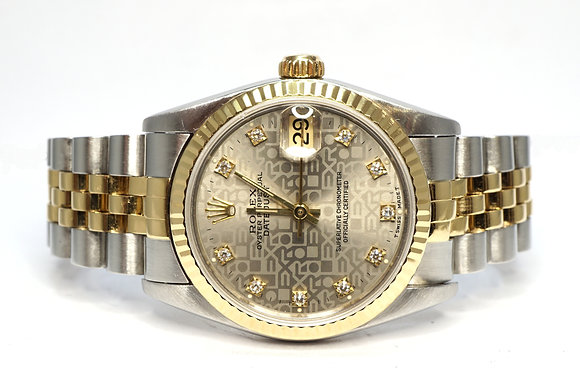 ROLEX 1994 Datejust 31, 68273, Diamond Dot Dial, Steel & Gold, Box & Papers