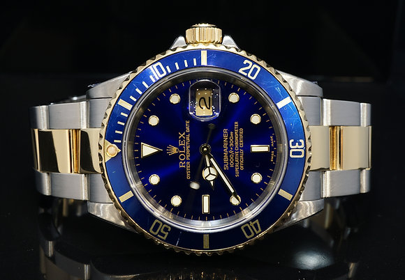 ROLEX 2001 Submariner, Steel & Gold, 16613, Rolex Service 01/19, Box & Papers