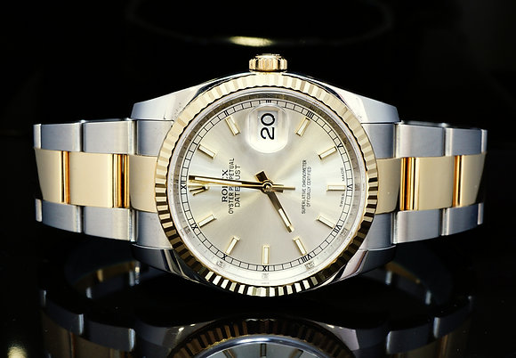 ROLEX 2016 36mm Datejust, Steel & Yellow Gold, 116233, MINT, Box & Papers
