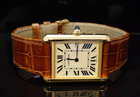 CARTIER 2017 Tank Louis Cartier, 18ct Yellow Gold, W1529756, As New, Box & Paper