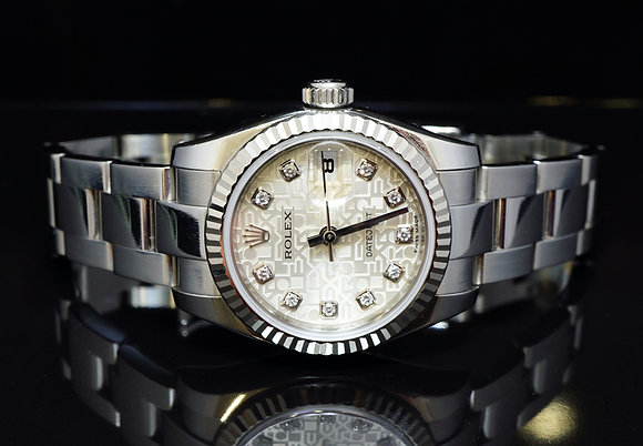ROLEX 2012 26mm Datejust, Steel, Diamond Dot Dial, 179174, MINT, Box & Papers