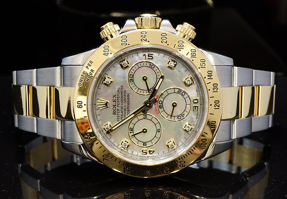 ROLEX 2013 Daytona, Steel & Gold, MOP Diamond Dial, 116523, Box & Papers