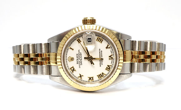 ROLEX 1993 Datejust 26, 69173, Steel & Gold, White Roman, Box & Papers