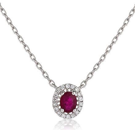 18ct White Gold Ruby & Diamond Pendant & Chain