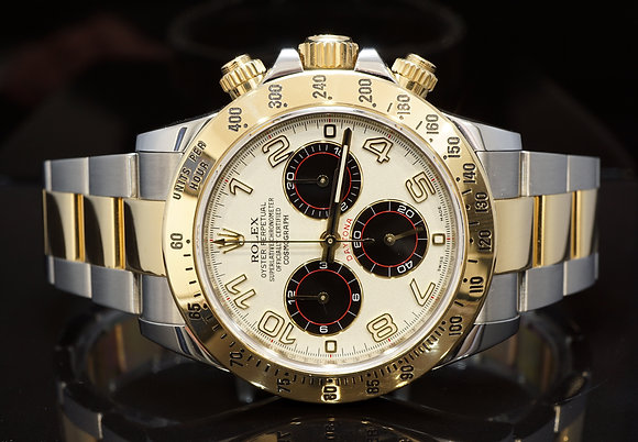 ROLEX 2014 Daytona, Steel & Gold, Racing Dial, 116523, MINT, Box & Papers