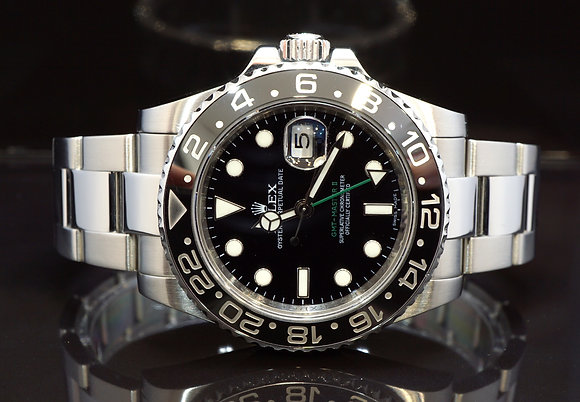 ROLEX 2011 GMT Master II, 116710LN, Mint, Box & Papers