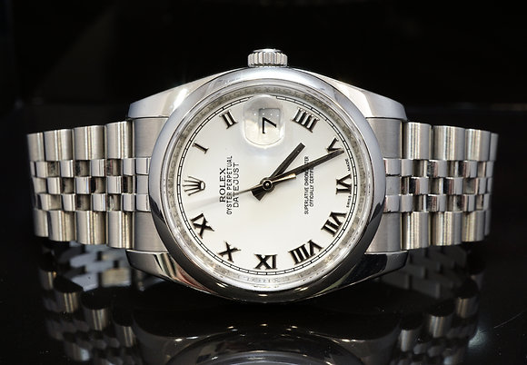 ROLEX 2011 Datejust 36, Steel, 116200, White Roman, Box & Papers