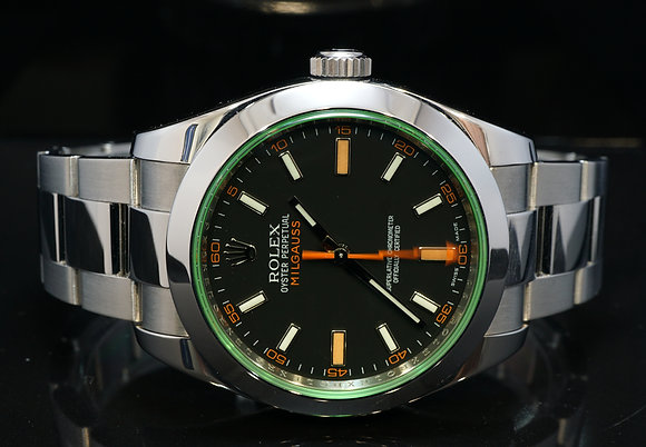 ROLEX 2009 Milgauss, Green Glass, 116400GV, Box & Papers