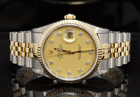 ROLEX 1991 Datejust 36, 16233, Diamond Dot Dial, Steel & Gold, Boxed