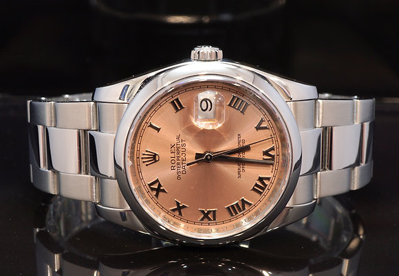 ROLEX 2007 Datejust 36, 116200, Pink Roman, Box & Papers