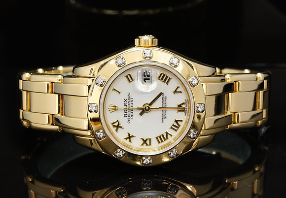 ROLEX 1999 29mm 18ct Yellow Gold Pearlmaster, Diamond Bezel, 69138, Box & Papers