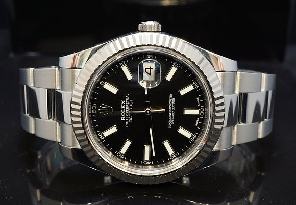 ROLEX 2015 Datejust II, Black Baton, 116334, Box & Papers