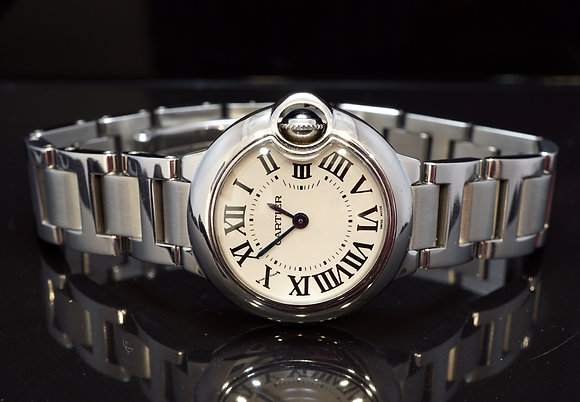 CARTIER 2010 28mm Ballon Bleu, W69010Z4, MINT, Box & Papers