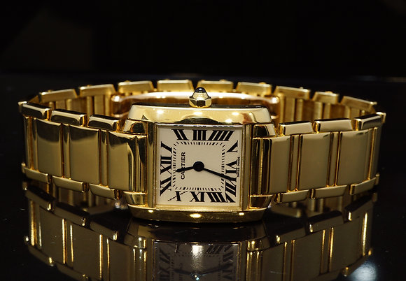 CARTIER 1997 Ladies Tank Francaise, 18ct Yellow Gold,W50002N2, MINT, Box & Paper