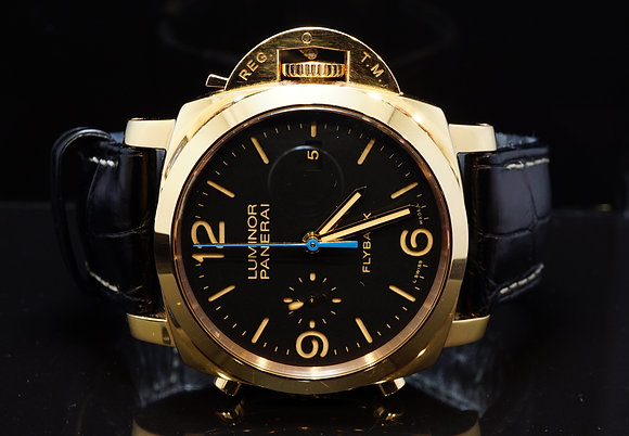 PANERAI 2015 1950 3 Day Flyback, Luminor, 18ct Rose Gold, PAM00525, Box & Papers